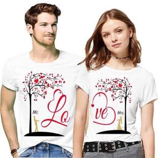 bfb Printed Couple Round Neck White T-Shirt