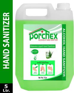 Porchex Aloe Vera Liquid 75% Alcohol Based (Kills 99.99% Germs & Flu Viruses) with triple action formula sanitizes hands nourishes skin Can 5 Liters  can Hand Sanitizer Can