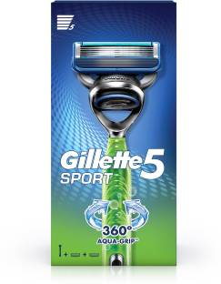GILLETTE Sport 5-Blade No Slip Aquagrip Men's Razor + 1 Cartridge