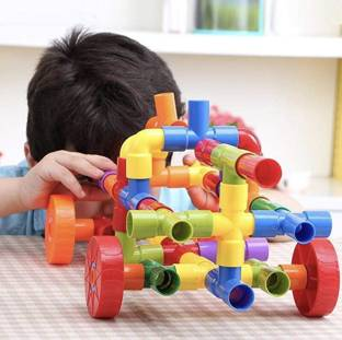 kipa Made in India Multi Coloured Educational Play and Learn Plastic Building Block Set Pipes Puzzle Set - Blocks for Kids ( 56 Pieces ) - Blocks Toys and Games for Kids