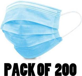 7SHIELD and ISO Certified 3 Ply Surgical Face Mask with Nose clip and soft ear loops SURGICAL-3PLY Surgical Mask (Free Size, Pack of 200, 3 Ply) Water Resistant Surgical Mask