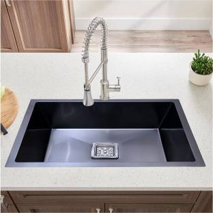 """Caisson ( 24""""x18""""x10"""") HANDMADE MATT FINISH SINGLE BOWL STAINLESS STEEL KITCHEN SINK (BLACK) with Waste Coupling And Drain Basket , Vessel Sink"""