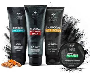 BOMBAY SHAVING COMPANY Activated Charcoal Powered Deep Cleansing Facial Kit For Men & Women   Removes Blackheads, De-tans, Unclogs Pores