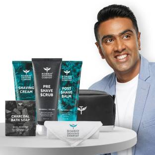 BOMBAY SHAVING COMPANY Shaving Kit For Men with Pre-Shave Scrub, Shaving Cream, Post Shave Balm, Charcoal Soap, Towel & Travel Pouch