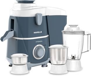 HAVELLS Vitonica 500 W Juicer Mixer Grinder (3 Jars, White and Blue)