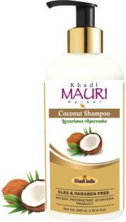 Khadi Mauri Herbal Coconut Shampoo - SLES & PARABEN FREE - Boosts Nourishment, Repair & Silky Hair - Enriched with Amla, Tulsi & Aloe Vera