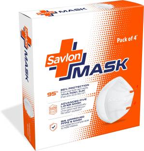 Savlon Mask - Pack of 4 | BIS Certified FFP2 S Mask (comparable to N95)| Ear-loop model with Head-Band Converter Strip