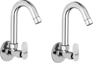 Prestige Brass Sink Cock Opal Handle with Swivel Spout,with Flange and Aerator Foam Flow-(PACK OF - 2)...