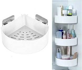 HXOSET Pack Of 3 ABS Plastic Multipurpose Kitchen Bathroom Wall Holder Storage Rack, Corner Shelf Rack Self Adhesive Shower Caddy Triangle Mount Basket (Multicolor) Plastic Wall Shelf