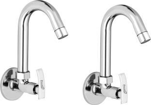 Prestige Passion (Sink Cock) Brass Tap For Bathroom/Kitchen Pillar Tap Faucet (Silver)- Pack of 2 Spout Faucet