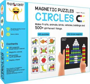 Miss & Chief Magnetic Puzzles - Circles with 250 colorful magnets, 100 puzzle book, Magnetic board and Display stand