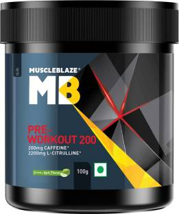 MUSCLEBLAZE Pre Workout 200, 200mg Caffeine, 2200mg Citrulline (20 servings) Energy Drink