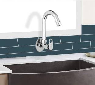 Caisson Brass Sink Max Handle with Swivel Spout, with Flange and Aerator Foam Flow Spout Faucet