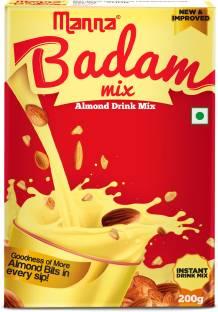 Manna Instant Badam Drink Mix with Real bits of Badam, 200g   More Bits per Sip (10% Badam). Make Milk tastier