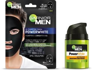 GARNIER Power White Charcoal Moisturiser, 50g + Power White Charcoal Sheet Mask (Pack of 2 Prodcuts)
