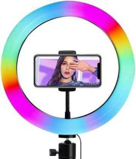 Style Tech 10 Inch Multi color Red Green Blue (RGB) and Normal Light Selfie Ring without Tripod & Remote Control, 360° Rotatable Photography Dimmable Studio Lighting for Live Streaming Ring Flash