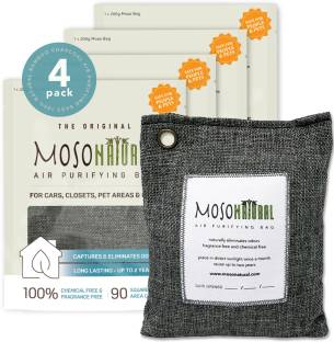Moso Natural Air Purifying Bag Odor Eliminator for Cars, Closets, Bathrooms & Pet Areas (4x200g) Charc...