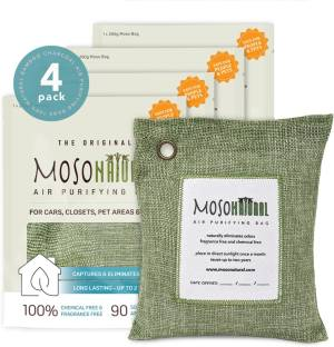 Moso Natural Air Purifying Bags Odor Eliminator for Cars, Closets, Bathrooms and Pet Areas (4x200g) Gr...