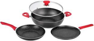 BERGNER Imperial Frypan - 1 L, Kadhai - 2.2 L, Tawa Induction Bottom Cookware Set
