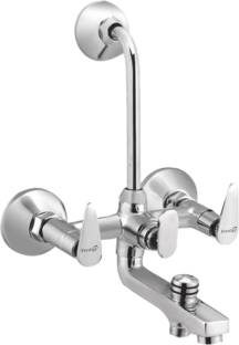 Prestige Brass Slim 3 In 1 Wall Mixer With Bend 3 In 1 Wall Mixer With Bend Chrome Silver platet Tap F...
