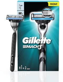 GILLETTE Mach3 Men's Shaving Razor + 1 Cartridge (Handle + 2 Cartridges)