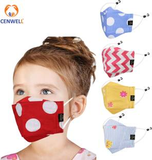 CENWELL 100 % Cotton Kids 3D Face Mask Reusable Washable Breathable Skin Friendly N95 Soft Cotton Fabric Face Mask with Adjustable Ear loops for Boys Girls Children Babies (Anti Pollution Mask , Anti Viral Mask , Anti Bacterial Mask ) (School Mask , Outdoor Mask , Kids Party Mask) (Child Mask , Kids Mask 3 years, Kids Mask 4 years , kids Mask 5 years , kids mask 6 years , kids mask 7 years , kids mask 8 years , kids mask 9 years , kids mask 10 years up to 14 yrs ) ( Mask for kids girls boys children) ) Designer Kids Mask Cloth Mask With Melt Blown Fabric Layer