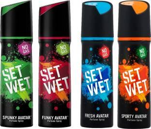 SET WET FUNKY AVATAR , SPUNKY AVATAR , FRESH AVATAR , SPORTY AVATAR PERFUME SPRAY 120ML X 4 Perfume  -  480 ml