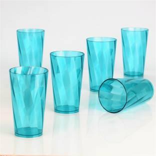 TAPASVI (Pack of 6) Twisted Shape Plastic Water Glasses Glass Set