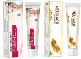 Neuhack Anti Pigmentation & Spot reduction cream + Anti aging & Acne Turmeric Gel combo   Paraben & Sulfate free   Non GMO