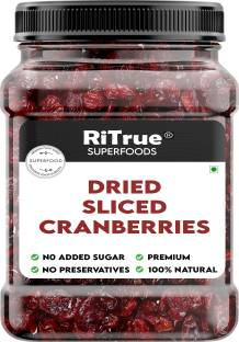 RiTrue 250 Gm Natural Dried Sliced Cranberries dry fruit - NO added sugar & NO preservatives Cranberries