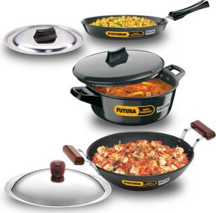HAWKINS Futura 3 Pcs Cookware Set IASET1 Kadhai 26 cm diameter with Lid 2.5 L capacity