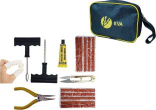 KVA KV-138 Complete Tubeless Tyre Puncture Repair Kit With Pouch (Nose Pliers + Cutter + Rubber Cement + Extra Strips+ Pouch+ Finger Coverings) Tubeless Tyre Puncture Repair Kit