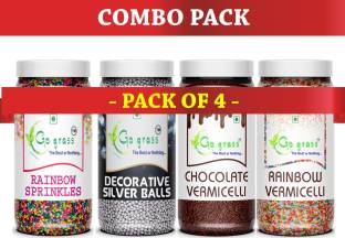 GO GRASS Combo of (Rainbow & Chocolate) Vermicelli 150 + 150 GRAM EACH | & Rainbow Sugar Balls + Silver Balls Topping 200 + 200 GRAM EACH ( Pack of 4 ) TOTAL 700 grams Sprinkles