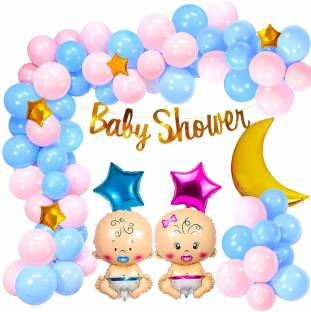 Cakeshala Baby Shower Combo Decorations Material Set-50Pcs Baby Shower Banner; Latex Balloon;Star Foil Balloon;Blue and Pink baby For Gender Reveal; Maternity; Pregnancy Photoshoot
