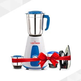 vistara Mixer Grinder & 1000 W Dry Iron Super Combo 500 W Juicer Mixer Grinder (3 Jars, White, Blue)
