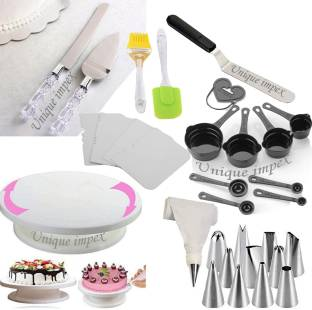 Unique Impex Cake Tools Round Easy Rotate Turntable + 8-Pc Black Measuring Cups + Silicone Spatula and Brush Set + 4 Pcs Set Scraper + 12 Piece Cake Decorating Set + Acrylic Handle Knife and Server Set + Angular knife (Off set)-13 inch Multi-Function Stainless Steel Cake Icing Spatula Knife (All Product Reusable & Washable) Multicolor Kitchen Tool Set