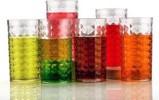 Sedulous (Pack of 6) Unbreakable Clear Water Juice Plastic Glass Set