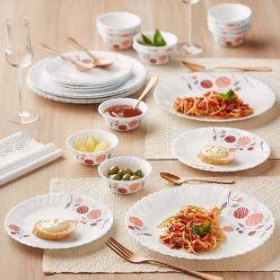Larah by Borosil Pack of 24 Opalware Dinner Set