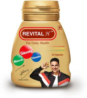 Revital H Men Multivitamin with Calcium, Zinc & Ginseng for Immunity, Strong Bones & Energy