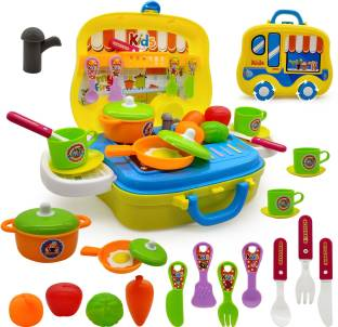 Miss & Chief Kids Play Kitchen Play Set for Girls (26 Pieces)