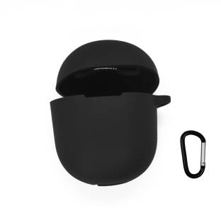 Heropantee Pouch for Boat Airdopes 381/383 TWS Earbuds | Silicone Black Case Cover with Clip (Headphone NOT Included)