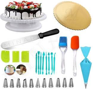 MINARI unique cake combo - 81 Cake Decoration Full Set Cake Turn Table,12 Pcs Nozzle, Oil Brush With Spatula, Straight Knife,,3 Pcs Scrapper,1 Pcs Cake Base Board,8 Pcs Fondant Tool, Multicolor Kitchen Tool Set