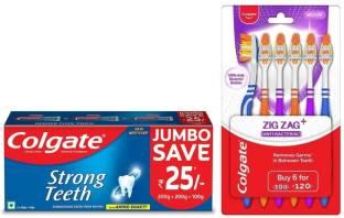 Colgate Anti-Cavity Strong Teeth Toothpaste - 500 gm with ZigZag Toothbrush Medium Medium Toothbrush