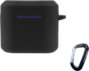 Heropantee Pouch for Boat Airdopes 402 TWS Earbuds | Silicone Black Case Cover with Clip (Headphone NOT Included)
