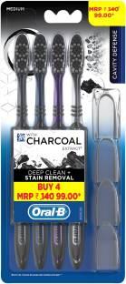 Oral B Cavity Defense 123 Black with Charcoal Extract Medium Medium Toothbrush