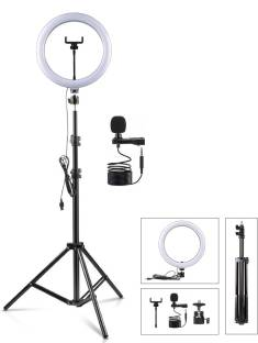 """ADZOY Premium 6.9"""" feet (210cm) Strong Metal Tripod With 10 inch 3 Modes LED Ring Light of 10 Level Brightness and Metal Collar Microphone for Mobile/Camera Photo/Video/Selfie Shoot Tripod"""