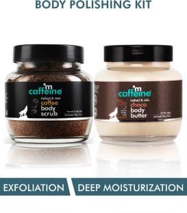 MCaffeine Body Polishing Kit | Deep Moisturizing, Tan Removal | Body Scrub 100g, Body Butter 250 gm | All Skin | Paraben & Mineral Oil Free