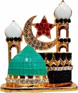 FABZONE Gold Plated With Stone Allah Sign Handicraft Statue Car Dashboard Idol & Decorative Spritual Vastu - Muslim Religious Ibadat Gift Item / Home Decor / Office / Study Table Decorative Showpiece  -  8 cm