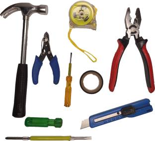 Tulsway Combo of Plier, Claw Hammer, 2in1 Screwdriver, Wire Cutter, Measuring Tape, Line Tester, Elect...