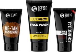 BEARDO Ultimate Facewash Combo (Activated Charcoal Facewash, Ultraglow Facewash, De-tan Facewash) Face Wash